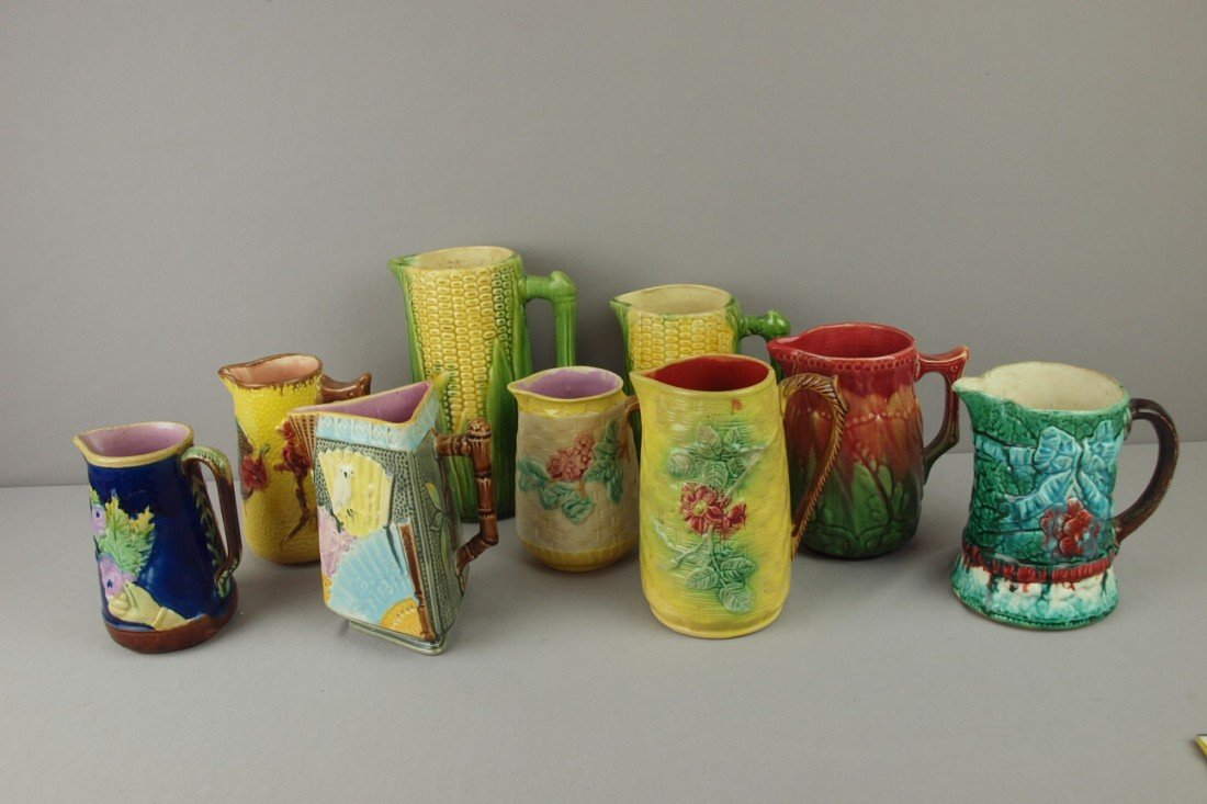 3: Majolica lot of 9 pitchers, various condition