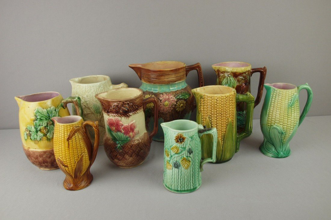 4: Majolica lot of 9 pitchers, various condition