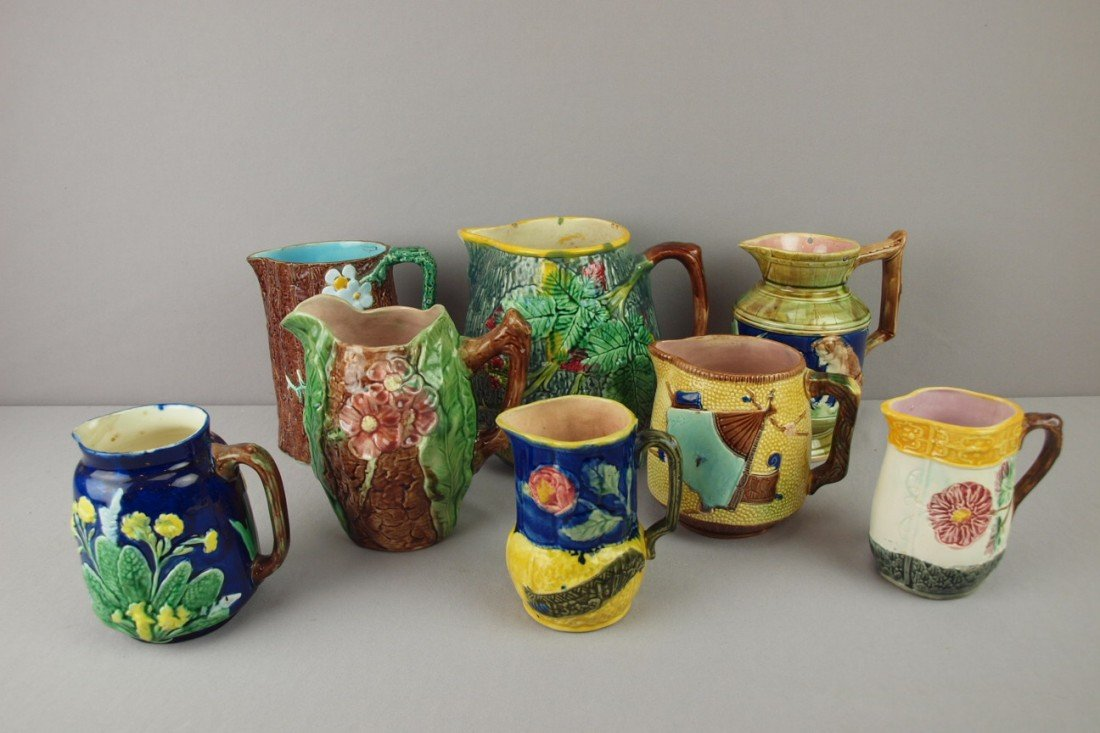 5: Majolica lot of 8 pitchers including Holdcroft, Wedg