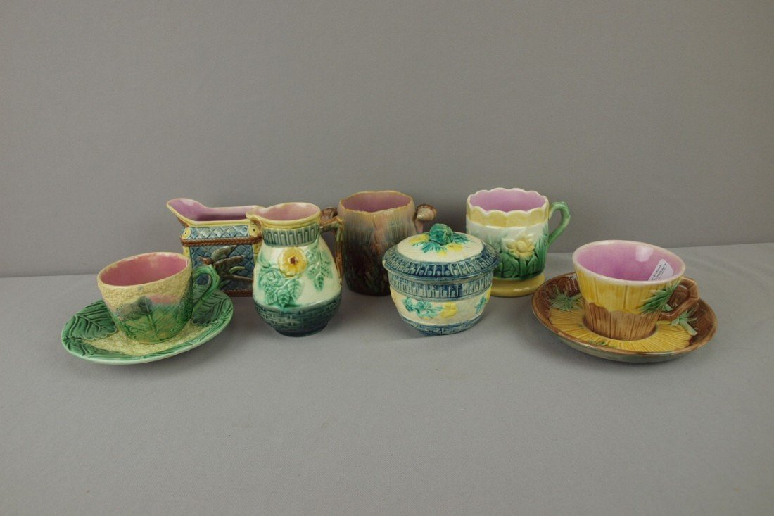 9: ETRUSCAN majolica lot of 7 pieces - wild rose cream