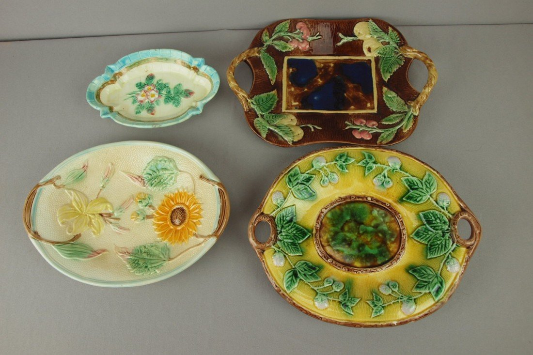 14: Majolica lot of 4 platters, nice lot, various condi