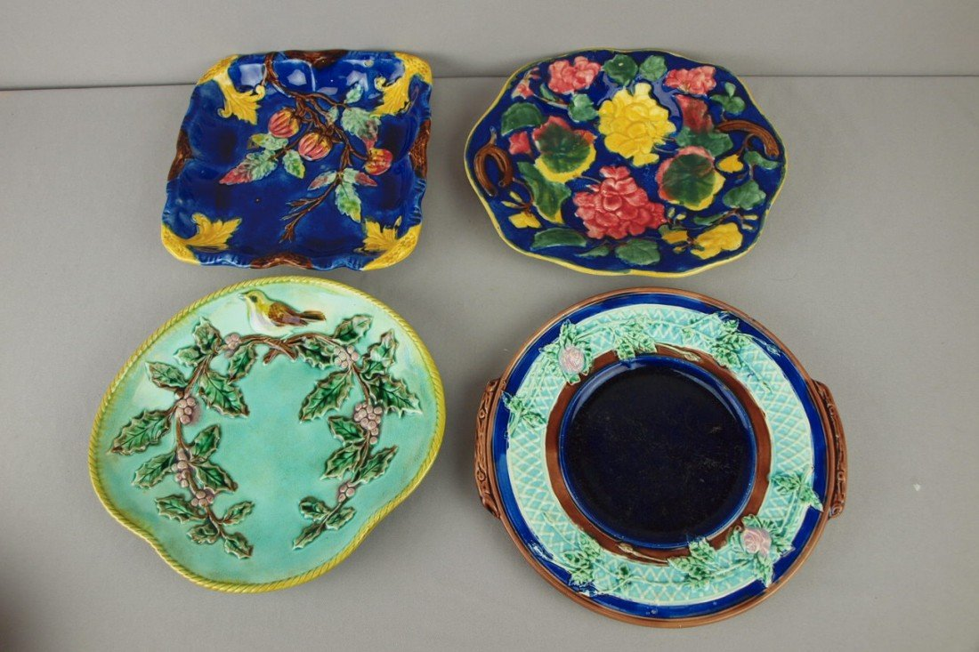15: Majolica lot of 4 platters, nice lot, various condi