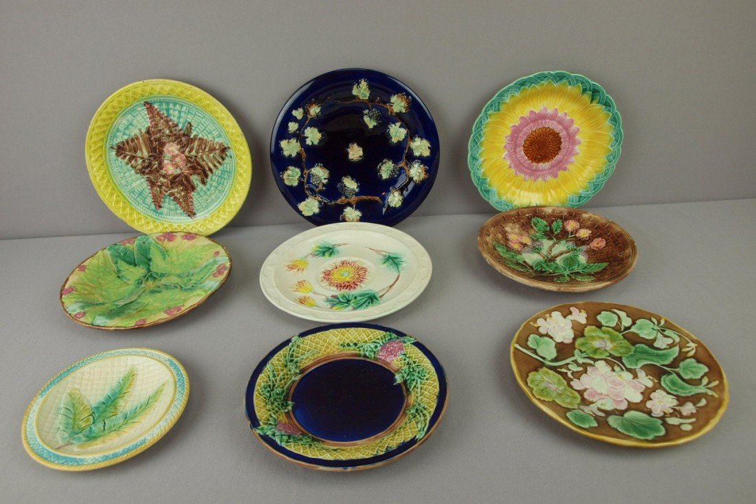 16: Majolica lot of 9 plates, various condition, nice l