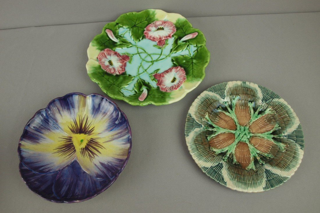 24: Majolica lot of 3 plates - Etruscan shell and seawe