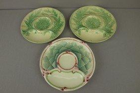 Majolica Lot Of 3 French Artichoke Plates