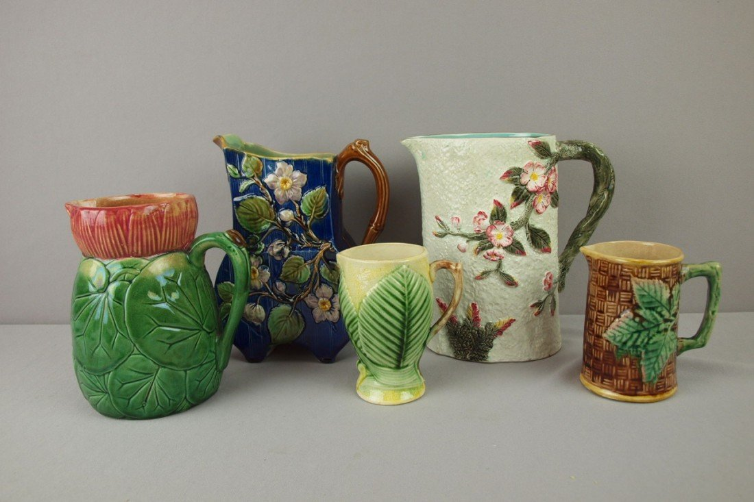 27: Majolica lot of 5 pitchers, various condition