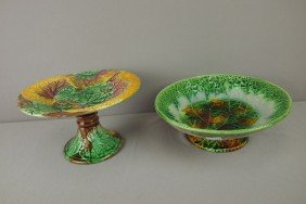 Majolica Lot Of 2 Begonia Leaf Compotes, Various Co