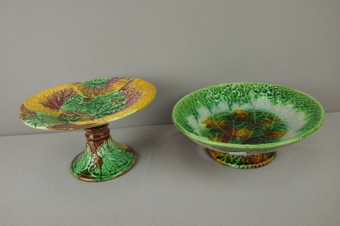 28: Majolica lot of 2 begonia leaf compotes, various co