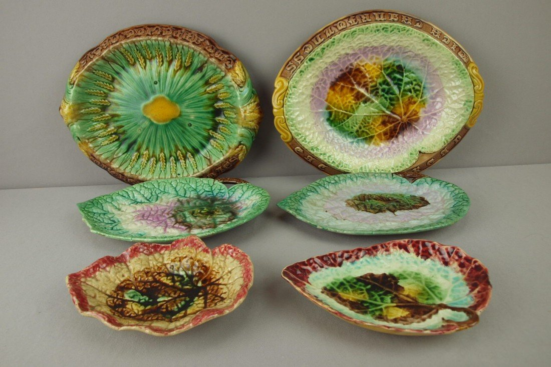 31: Majolica lot of 6 platters and trays, various condi