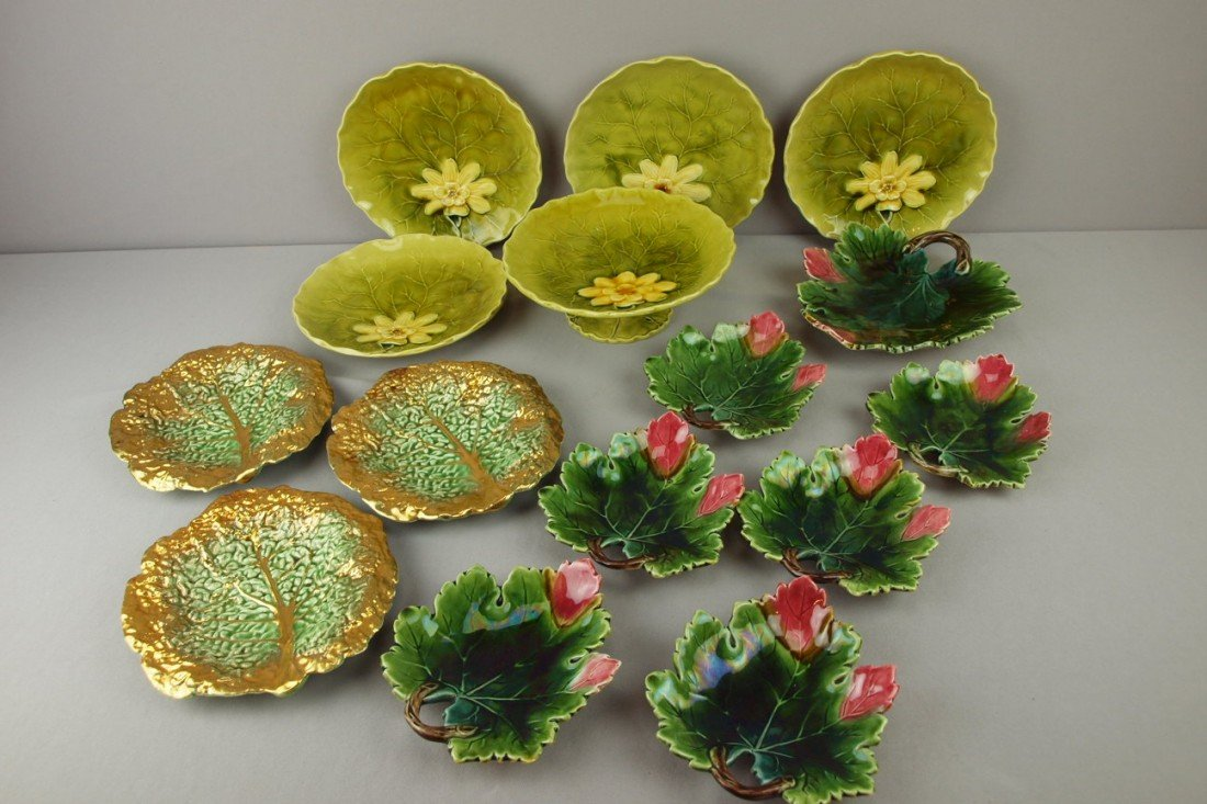 33: Lot of 2 German majolica dessert sets and 3 gold tr
