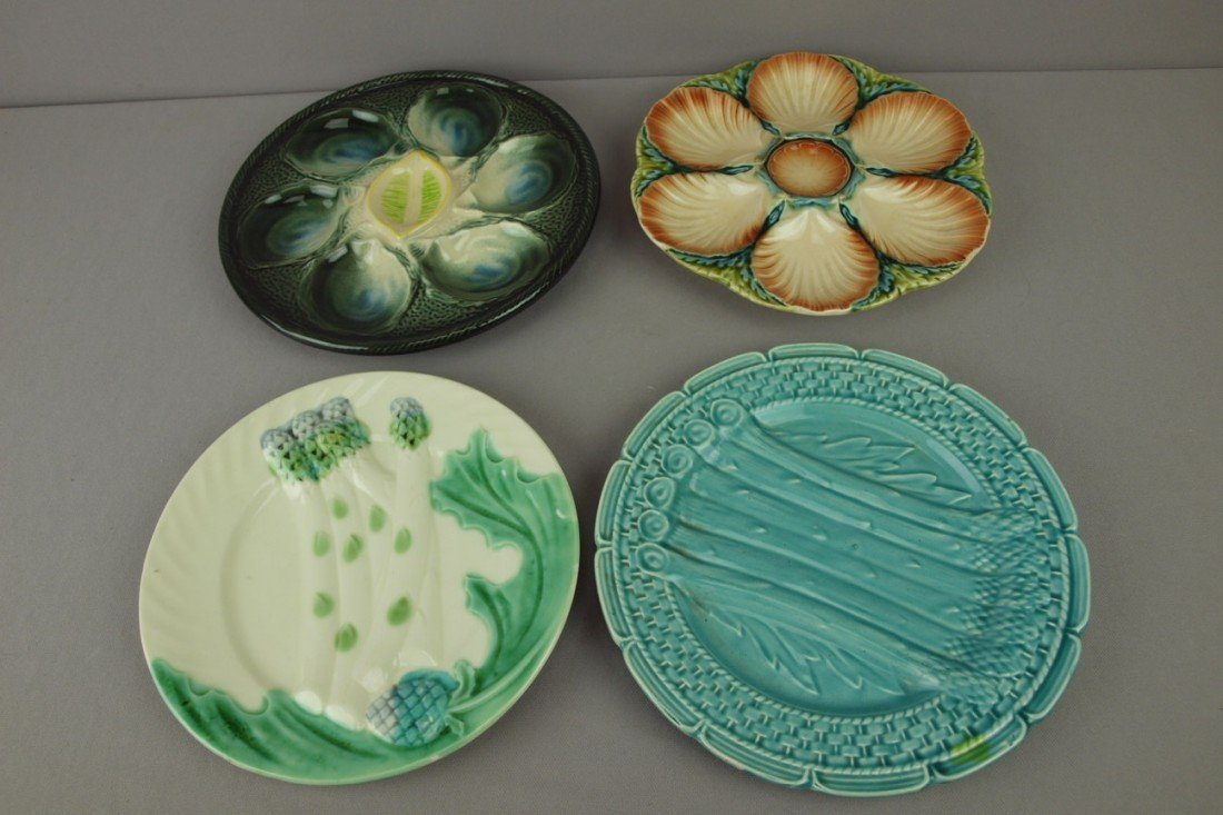 35: Majolica lot of 2 French oyster plates and 2 French