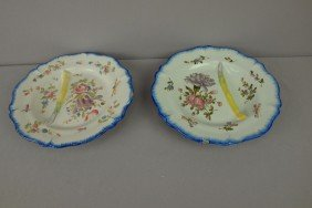 Pair Of French Faience Asparagus Plates With Floral