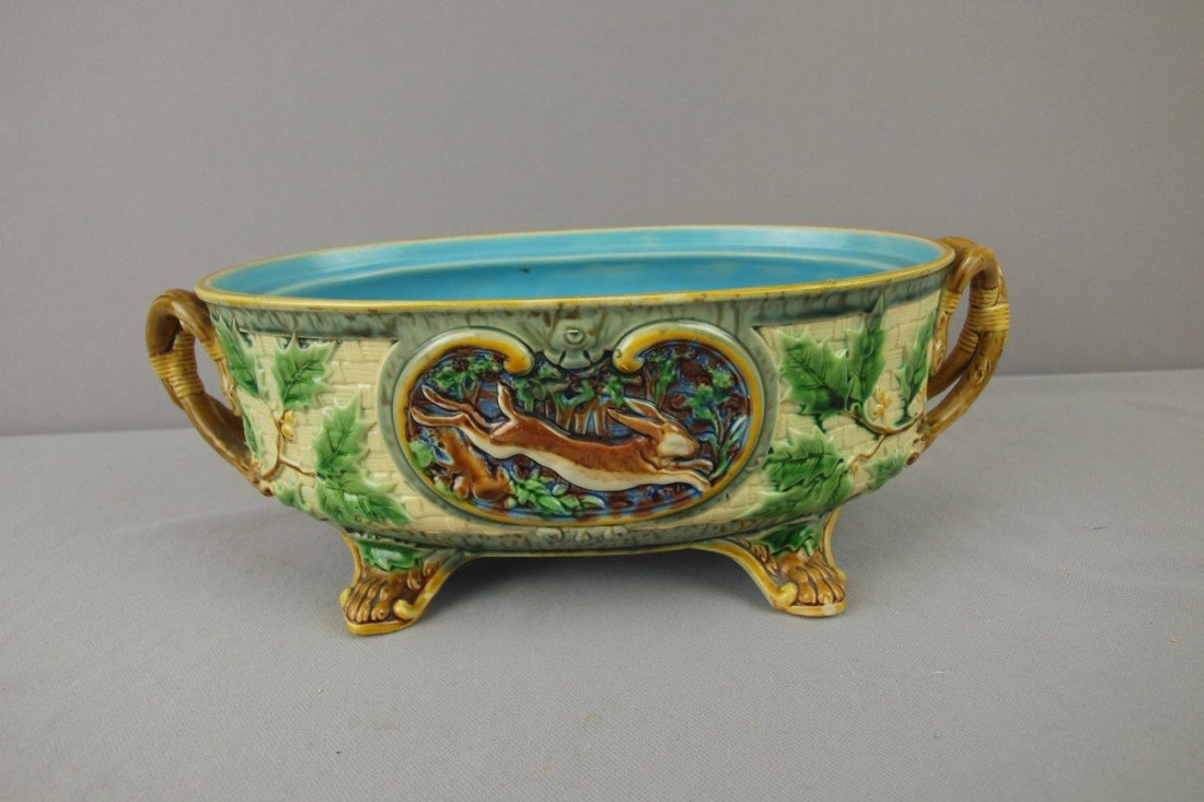 "45: MINTON majolica gun dog tureen base, 12 1/2""l, rim"