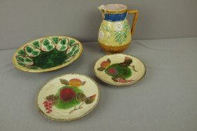 Majolica Lot Of 4 Pieces - 2 Wedgwood Fruit Plates