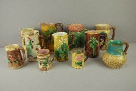 Majolica Lot Of 11 Pitchers, Various Condition