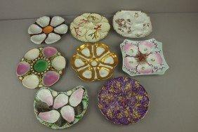 Lot Of 8 Majolica And Porcelain Oyster Plates, Var