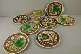 Majolica 8 Piece Dessert Set With Leaves And Ferns