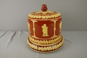 LEAR Majolica Type Cheese Keeper With Classical Fi