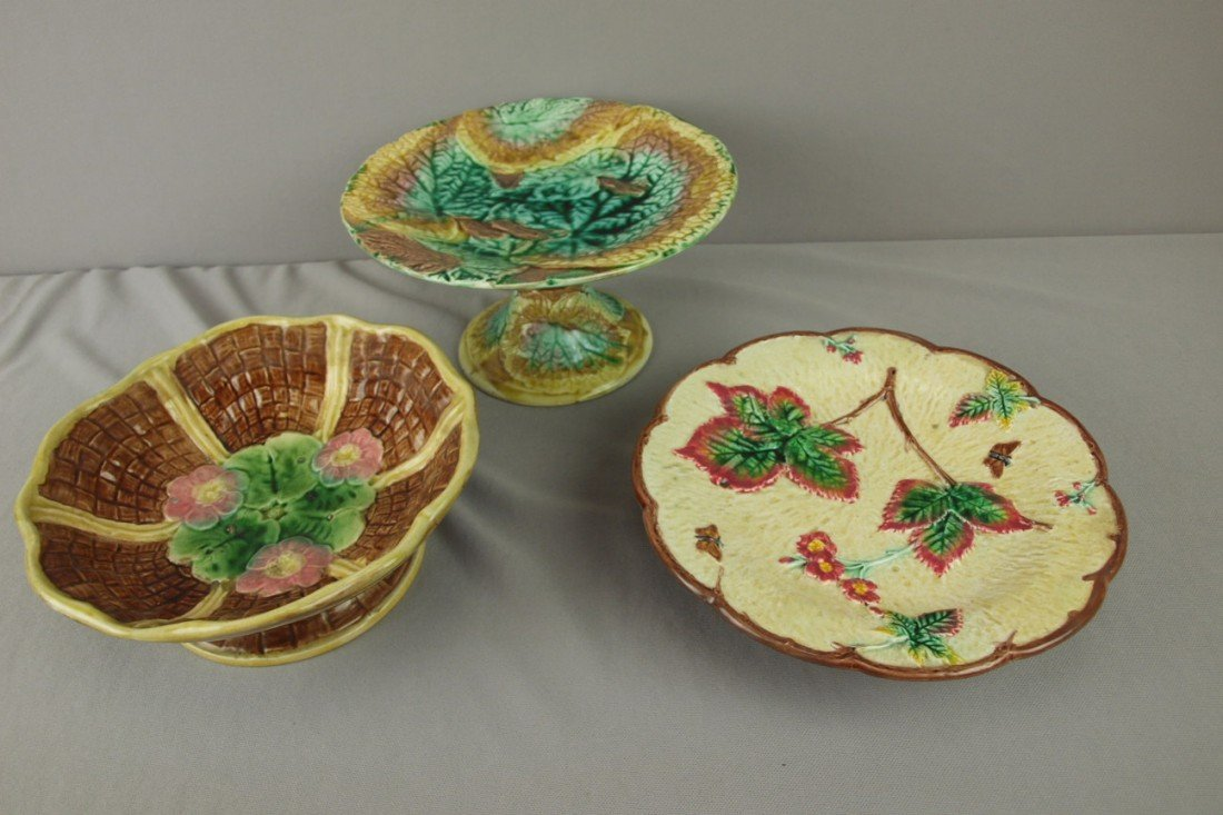 170: Majolica lot of 3 compotes, various condition