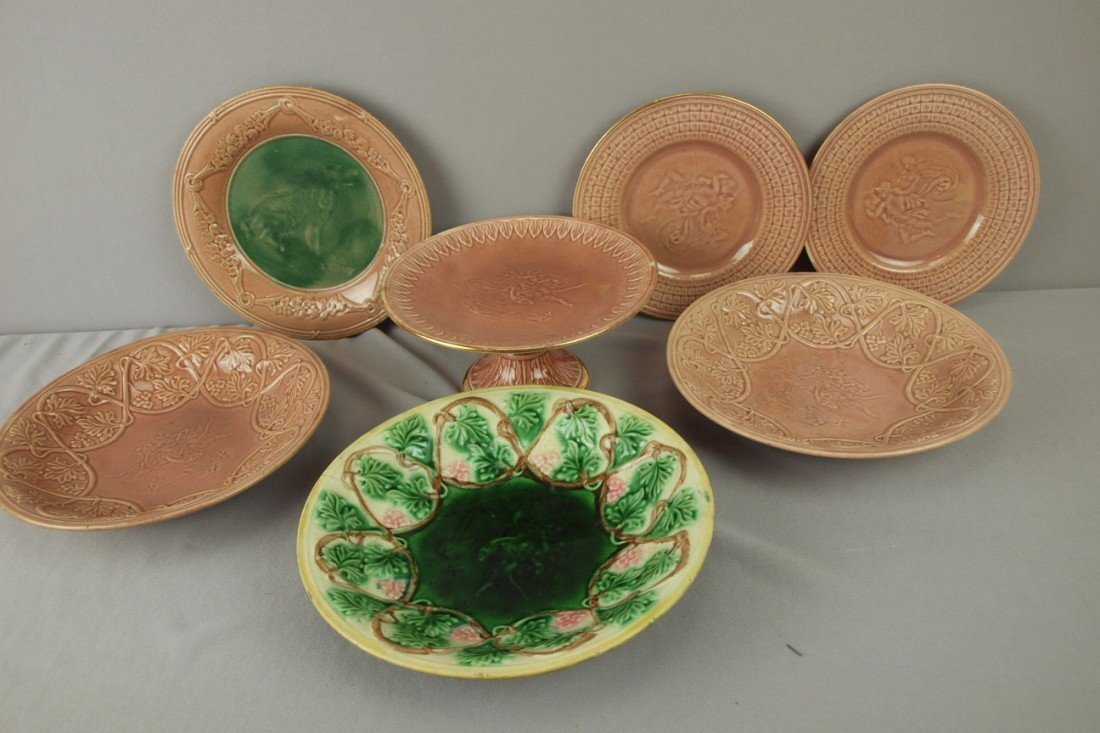 176: ETRUSCAN lot of 7 Classical items - compote, plate