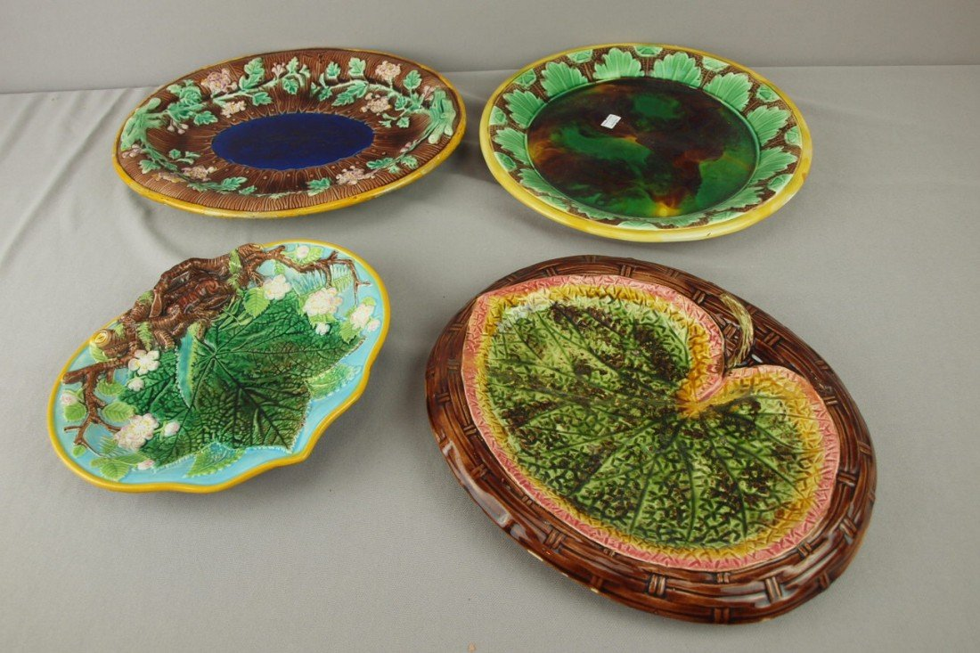 180: Majolica lot of 4 platters, various condition
