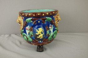 Cobalt Majolica Paw Footed Jardiniere With Lion Ma