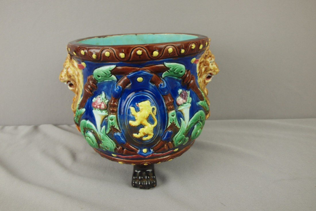 181: Cobalt majolica paw footed jardiniere with lion ma