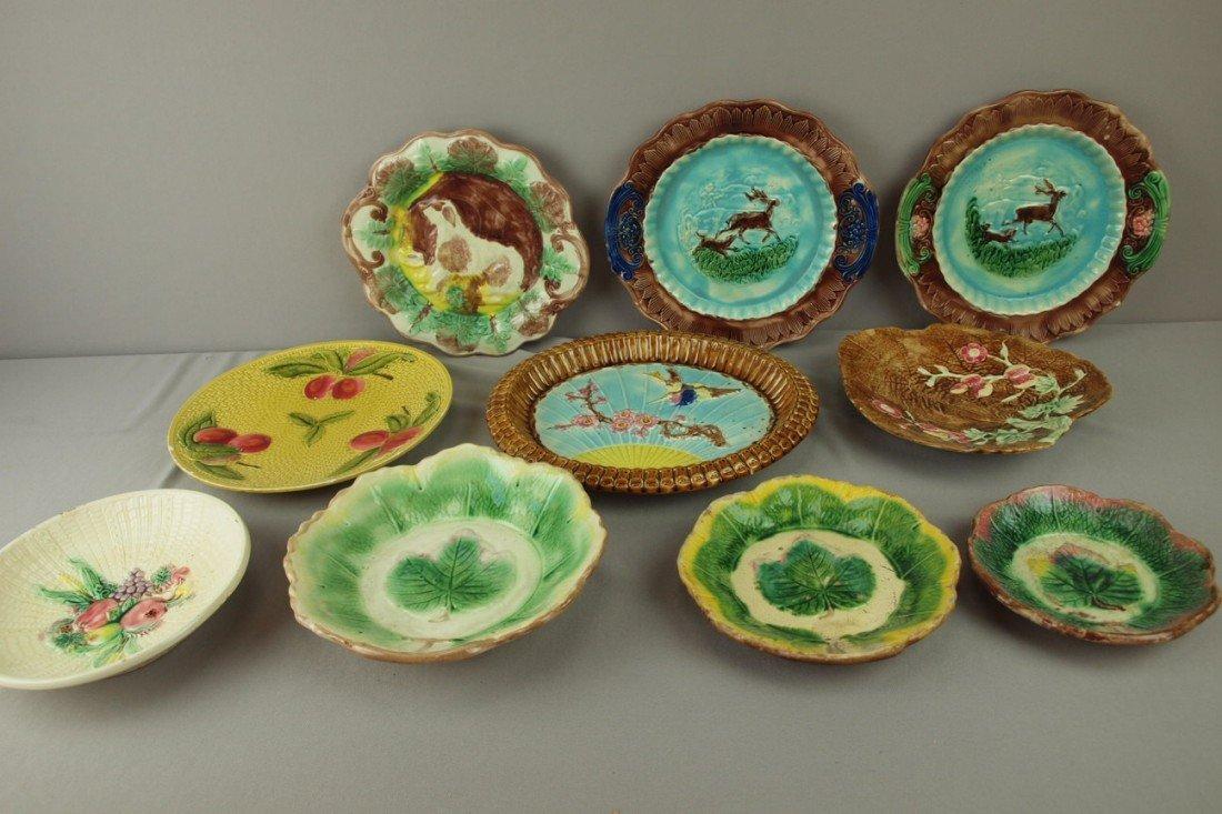 184: Majolica lot of 10 platters, trays and bowls, vari