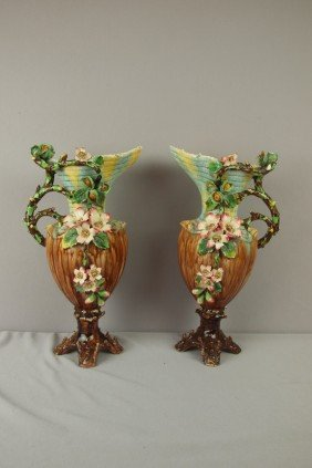 Pair Of French Barbotine Majolica Ewers With Appli