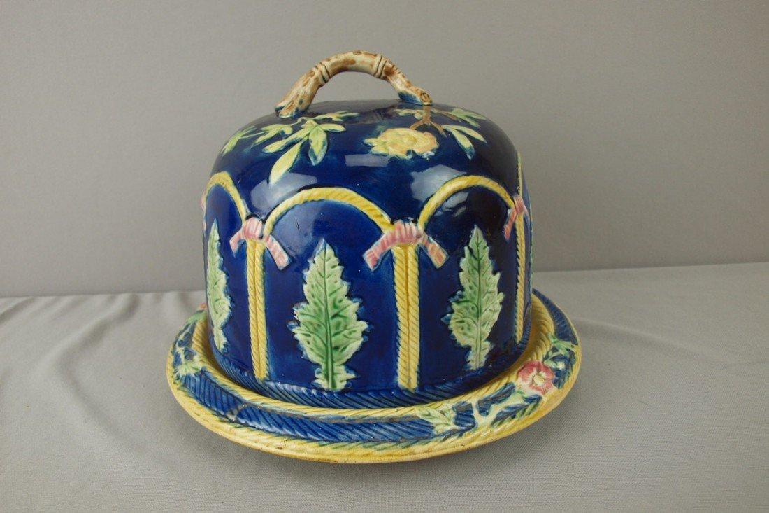 189: Cobalt majolica rope and fern cheese keeper, top r