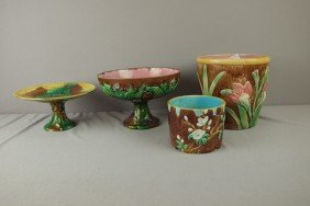 Majolica Lot Of 2 Jardinieres And 2 Compotes, Vari