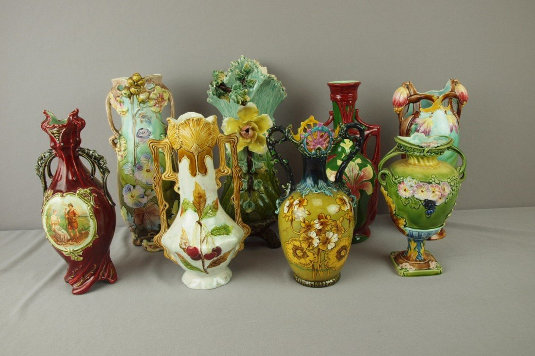 "191: Continental majolica lot of 8 vases, 11"" average,"