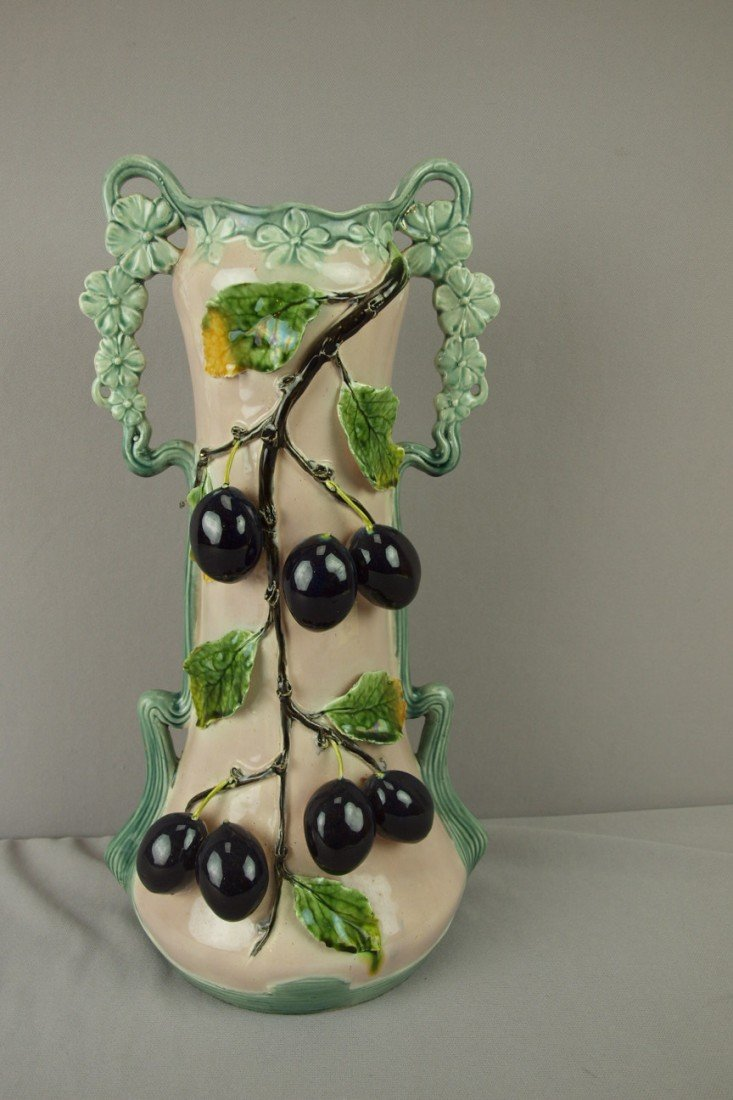 """192: Continental large majolica vase with fruit, 17"""""""
