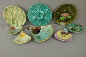Majolica Lot Of 8 Trays, Oyster Plate And Asparagu