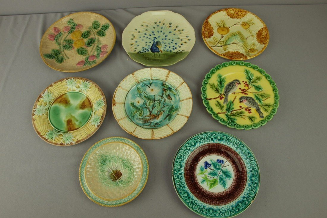 218: Majolica lot of 8 plates, various condition