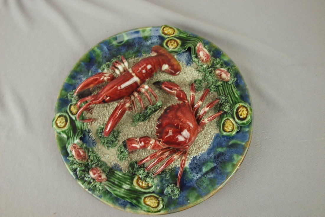 228: Contemporary lobster and crab Palissy style plate,