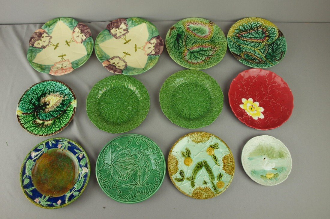 232: Majolica lot of 12 plates, various condition