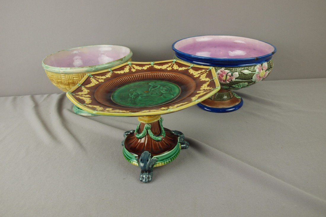 233: Majolica lot of 3 compotes including one Wedgwood,