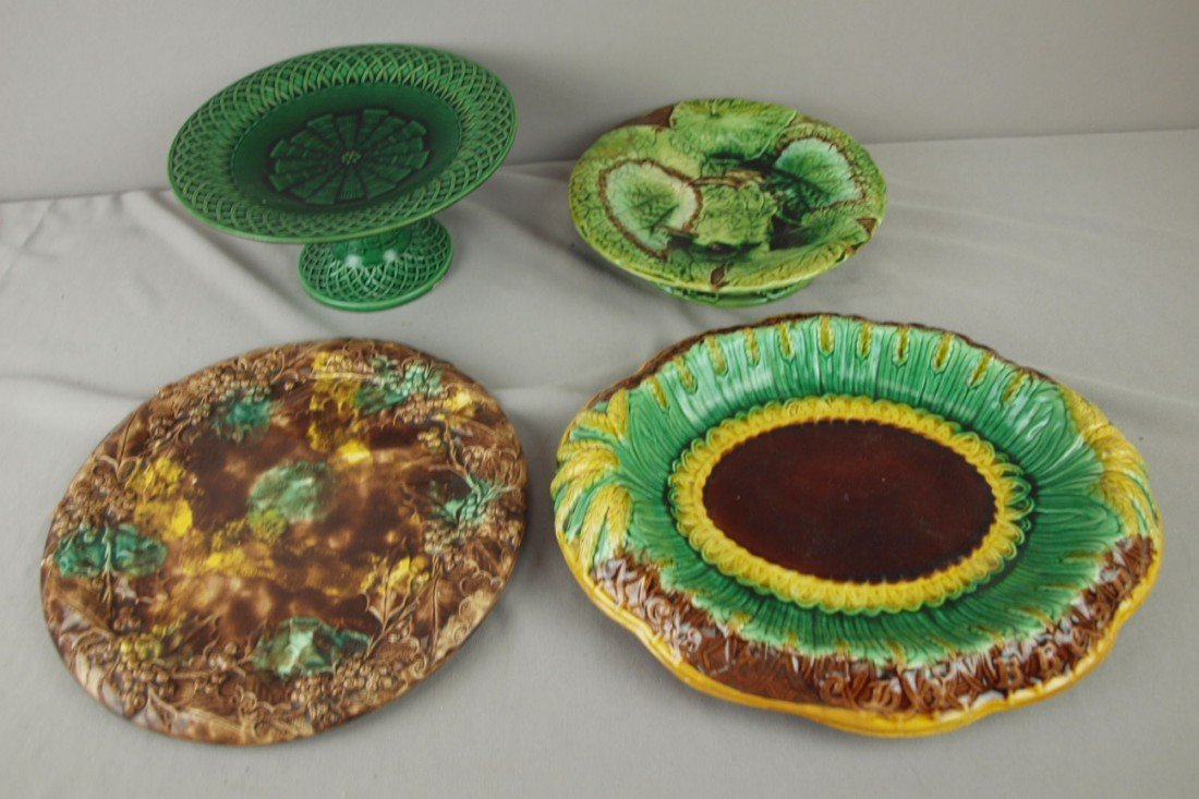 236: Majolica lot of 2 platters and 2 compotes, various