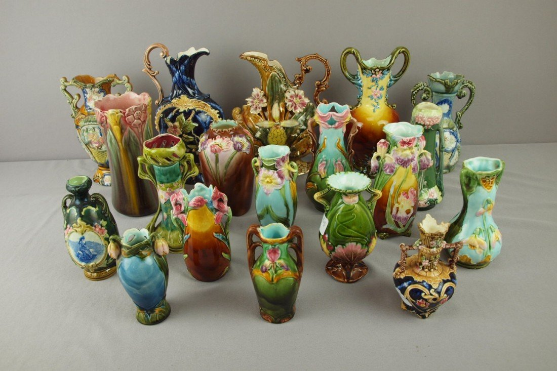 237: Continental majolica lot of 19 vases and ewers, va