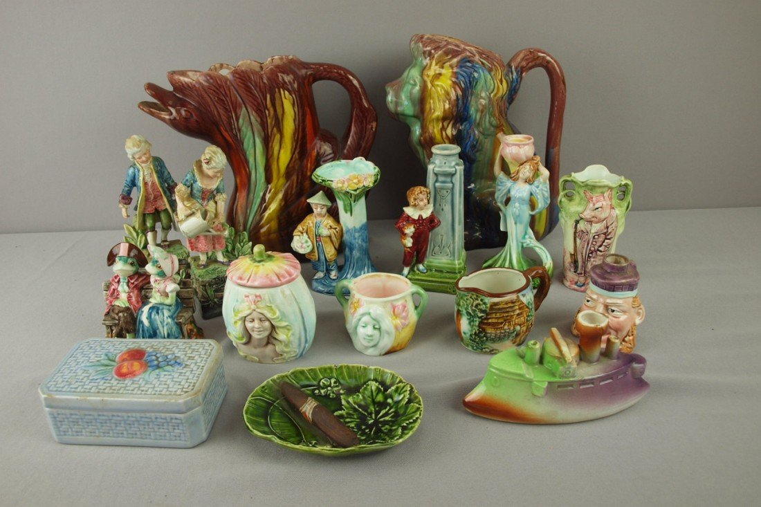 240: Majolica lot of 16 assorted figurals, vases, pitch