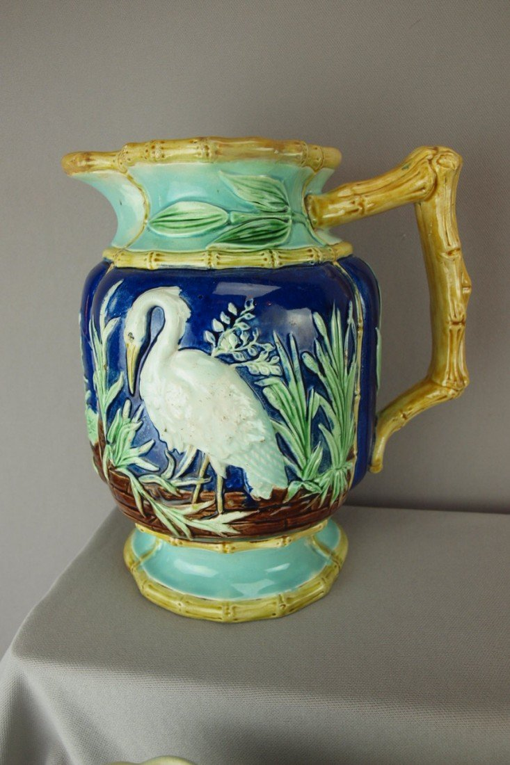 274: HOLDCROFT stork in marsh pitcher with bamboo handl