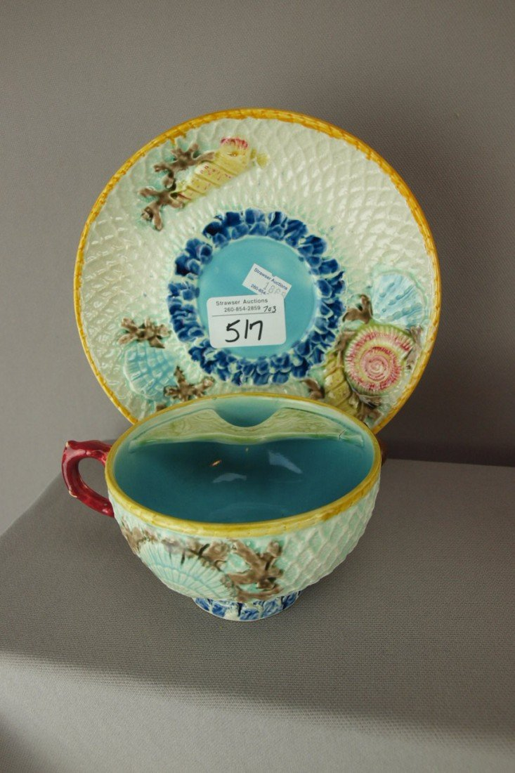 517: FIELDING fishnet and shells majolica mustache cup