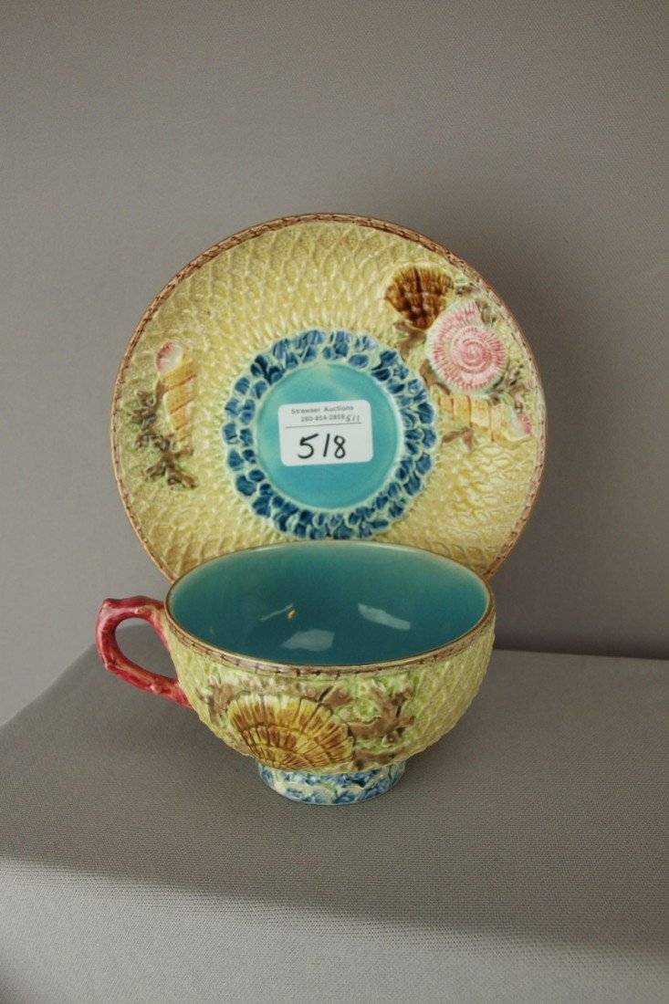 518: FIELDING fishnet and shells large cup and saucer,
