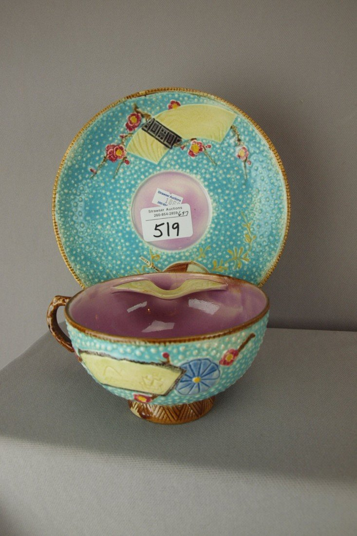 519: FIELDING fan and scroll majolica mustache cup and