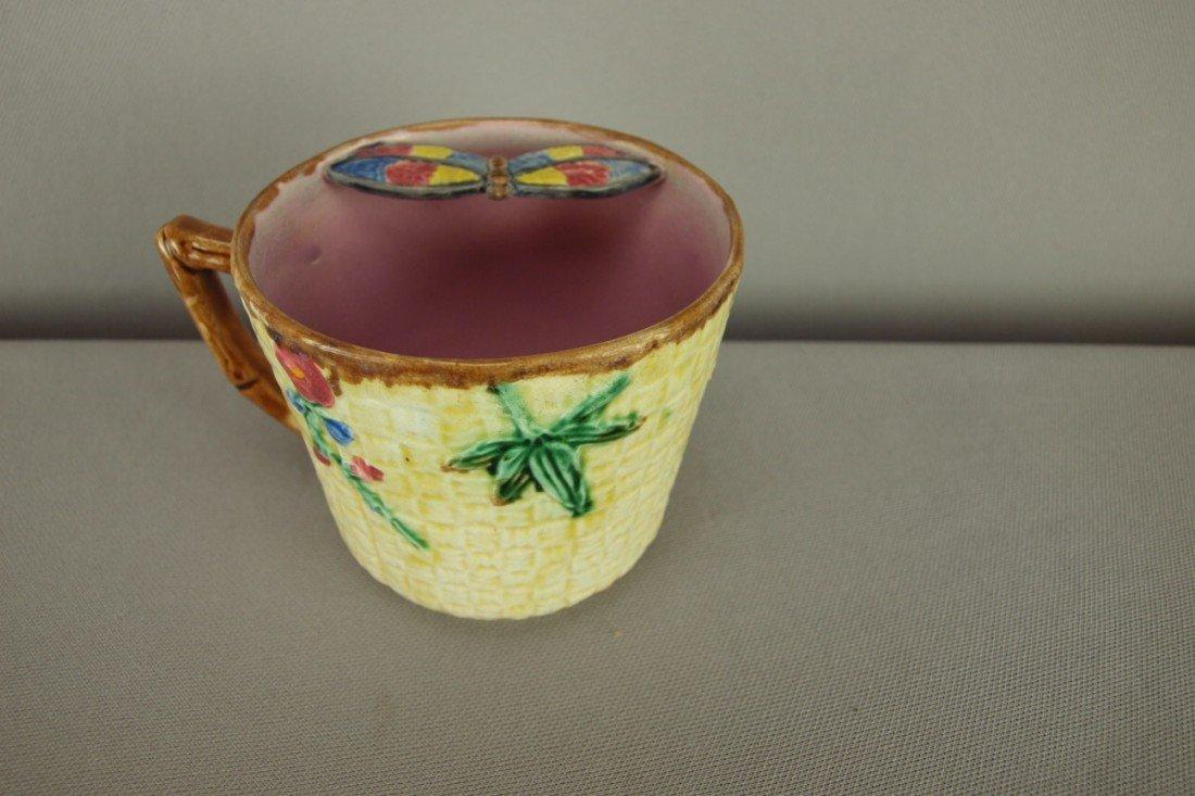 521: FIELDING majolica butterfly mustache cup, minor ri