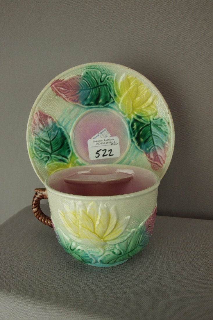 522: LEAR majolica water lily mustache cup and saucer,