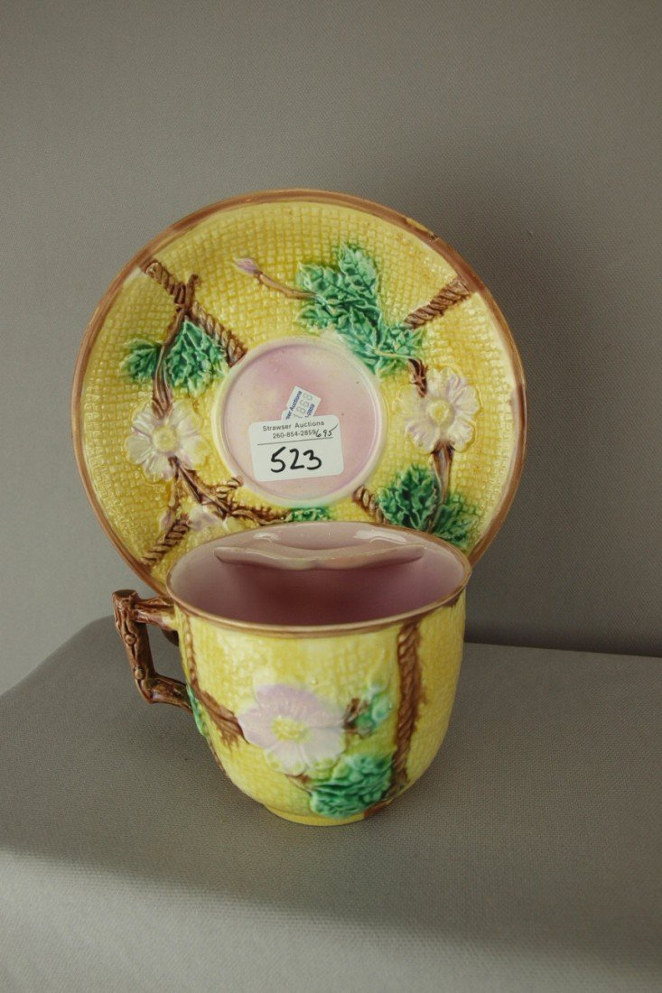523: Yellow majolica wild rose and rope mustache cup an
