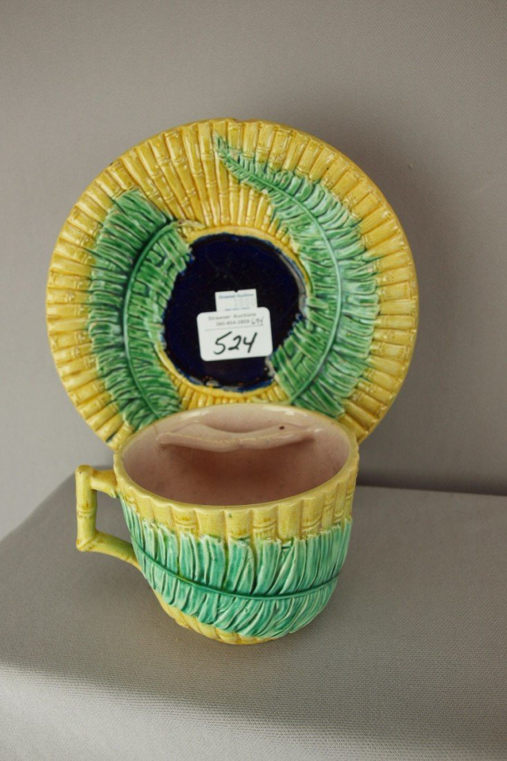 524: Wardle majolica bamboo and fern mustache cup and s