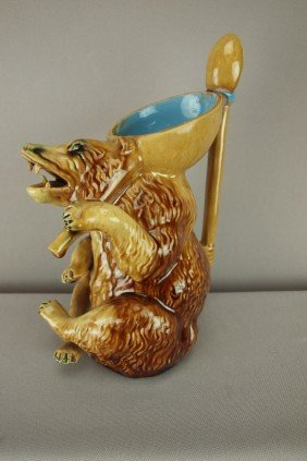 Majolica Figural Honey Bear Pitcher With Spoon Han